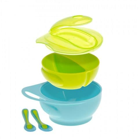 Brother Max - Easy Hold Weaning Bowl & Spoon Set with Lid and Divider
